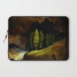 Hiker in an Alpine Mountain landscape painting by Franz Sedlacek Laptop Sleeve