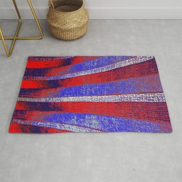 In the Zone red white blue stripes Rug