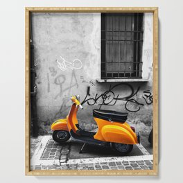Orange Vespa in Bologna Black and White Photography Serving Tray