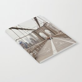 View on downtown from the Brooklyn Bridge in New York City, USA | Travel photography print | New York people walking | Tipical NY building architecture photo Art Print Art Print Notebook