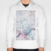 cincinnati Hoodies featuring Cincinnati map by MapMapMaps.Watercolors