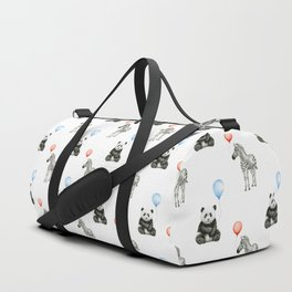 Panda and Zebra Balloons Pattern, Baby Animals Birthday Pattern Duffle Bag