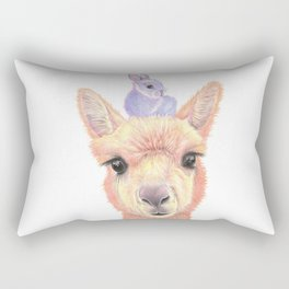 Orange Alpaca and Purple Bunny Rectangular Pillow