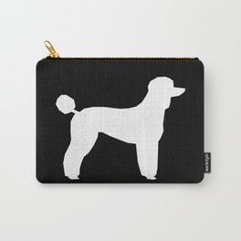 Poodle silhouette black and white square minimal modern dog art pet portrait dog breeds Carry-All Pouch
