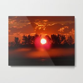 Red Foggy Sunrise Metal Print
