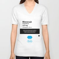 posters V-neck T-shirts featuring Kitchen Posters - Rivotril/Maracuja by mvaladao
