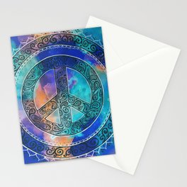 Tie-Dye Peace Mandala Neg Stationery Cards