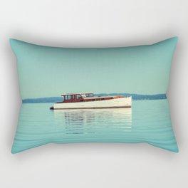 Boat on Blue Rectangular Pillow