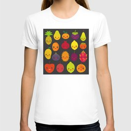 kawaii fruit Pear Mangosteen tangerine pineapple papaya persimmon pomegranate lime T-shirt