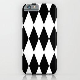 LARGE  WHITE AND BLACK   HARLEQUIN DIAMOND PATTERN iPhone Case