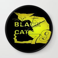 duvet cover Wall Clocks featuring BLACK CAT DUVET COVER by aztosaha