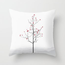Twig Tree - Crimson Throw Pillow