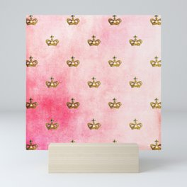Royal Heraldy Gold crowns on pink watercolor Mini Art Print