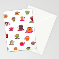 Coffee Cup Green & Orange Stationery Cards