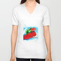 chameleon V-neck T-shirts featuring Chameleon by TheMartianPotato