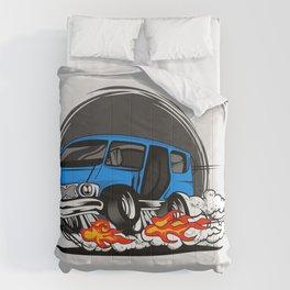 Minivan hotrod style illustration Comforters