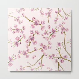 Spring Flowers - Pink Cherry Blossom Pattern Metal Print