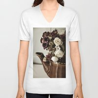 vintage flowers V-neck T-shirts featuring Vintage flowers by EleonoraVasco
