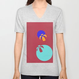 Life is a Beachball - red Unisex V-Neck