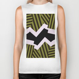 Bold Stripes - Black and white, brown and khaki stripes, abstract geometry Biker Tank