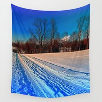 hiking Wall Tapestries featuring Traces on a winter hiking trail by Patrick Jobst