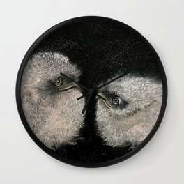Little chick frogmouth babies Wall Clock