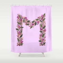Leafy Letter M Shower Curtain