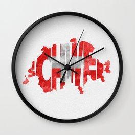 Schweiz / Switzerland Typographic Flag / Map Art Wall Clock