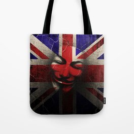 Guy Fawkes Day Union Jack Distressed Flag and Mask Tote Bag