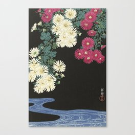 Chrysanthemums and Running Water Canvas Print