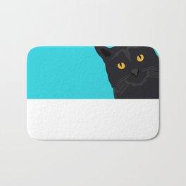 Black Cat peeking around the corner funny cat person gift for cat lady hipster black cat ironic art Bath Mat
