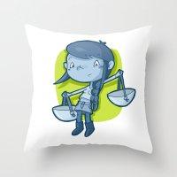 libra Throw Pillows featuring Libra by Chiara Zava