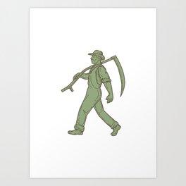 Organic Farmer Scythe Walking Mono Line Art Print