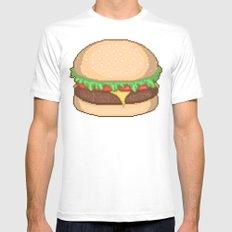 Cheeseburger Pixel Mens Fitted Tee White MEDIUM
