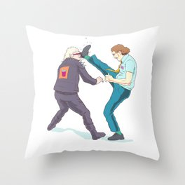 Fred the All-You-Can-Eat Buffet Manager kicks a Punk Throw Pillow