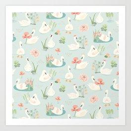 Curious Swan Pattern Art Print