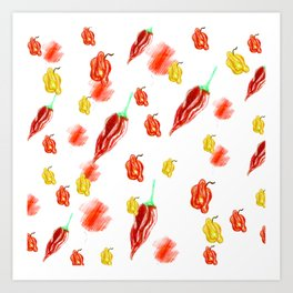 moving chilies Art Print