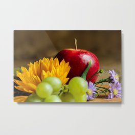 An autumn gifts still life on the blurred background Metal Print