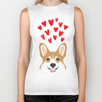 valentines Biker Tanks featuring Valentines - Love Corgi  by PetFriendly