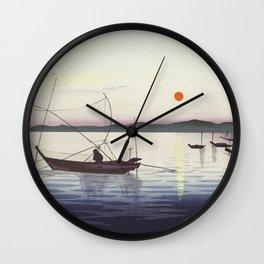 Boats and setting sun (1900 - 1936) by Ohara Koson (1877-1945) Wall Clock