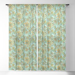Jerusalem Artichoke, Vintage Floral Pattern, Saturated Version Sheer Curtain