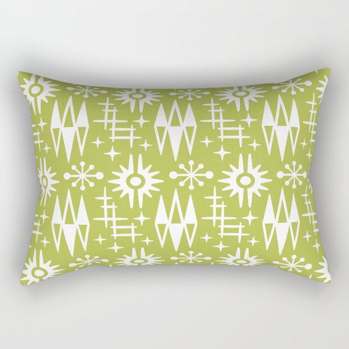 Mid Century Modern Atomic Space Age Pattern Chartreuse Rectangular Pillow