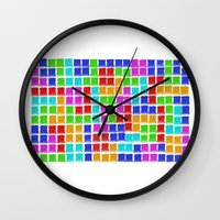 tetris Wall Clocks featuring Tetris by MarioGuti