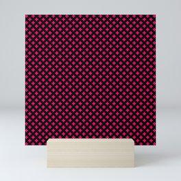Small Hot Neon Pink Crosses on Black Mini Art Print