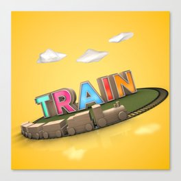 Typographic Train Canvas Print