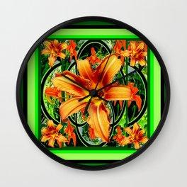 Old Fashioned Orange Day Lilies  Garden Pattern Wall Clock