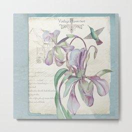 Vintage Purple Lily Postcard Metal Print