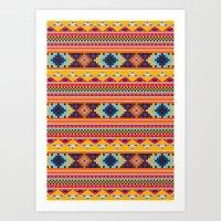 Navajo blanket pattern- orange Art Print
