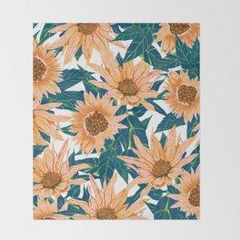 Blush Sunflowers Throw Blanket