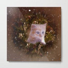 Christmas kitten watching the snow Metal Print
